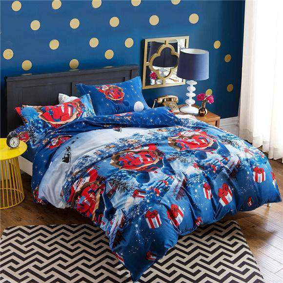Christmas Gift Santa Claus Cartoon Queen Size Bedding Set - Nyrod Network- Nyrod