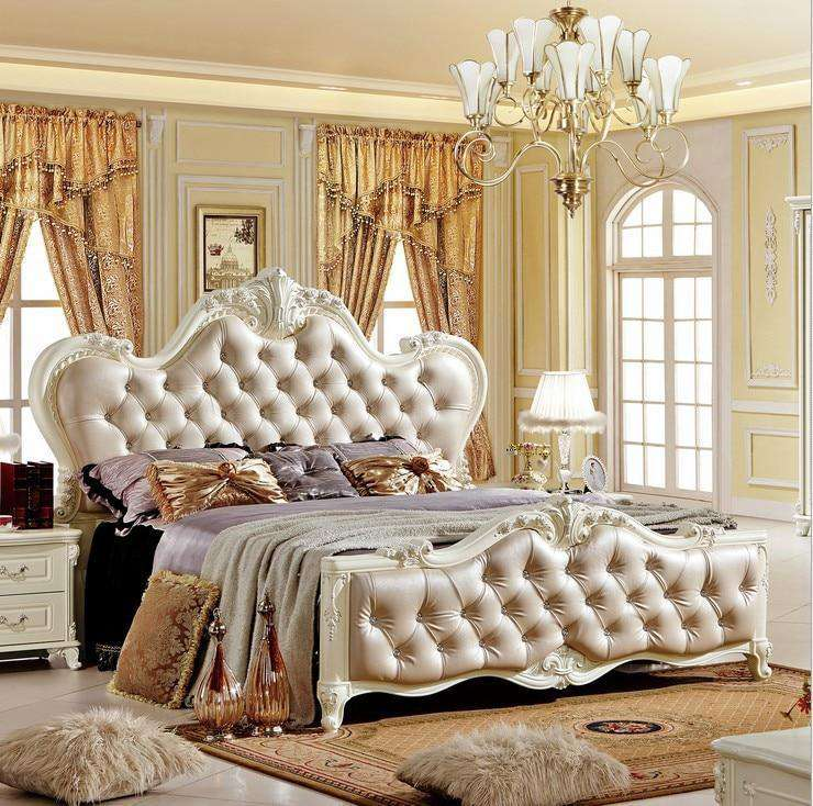 Solid wood bed Fashion French Carved bedside 1.8 m bed set dresser - Nyrod Network- Nyrod