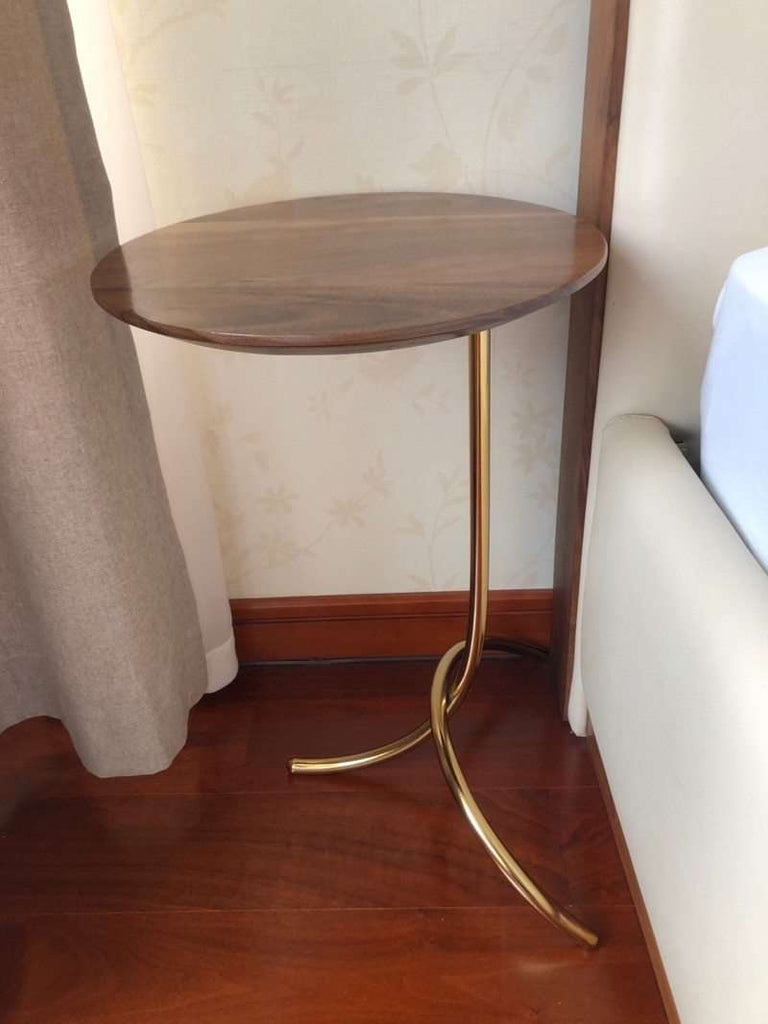 Metal Frame in Gold / Wood Table - Nyrod- Nyrod