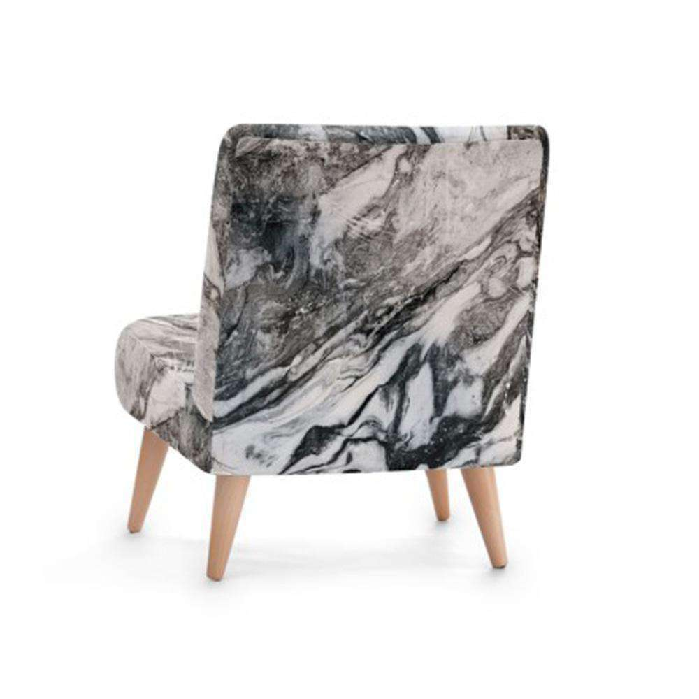 Grey Marble Print Accent Occasional Chair - Nyrod Network- Nyrod