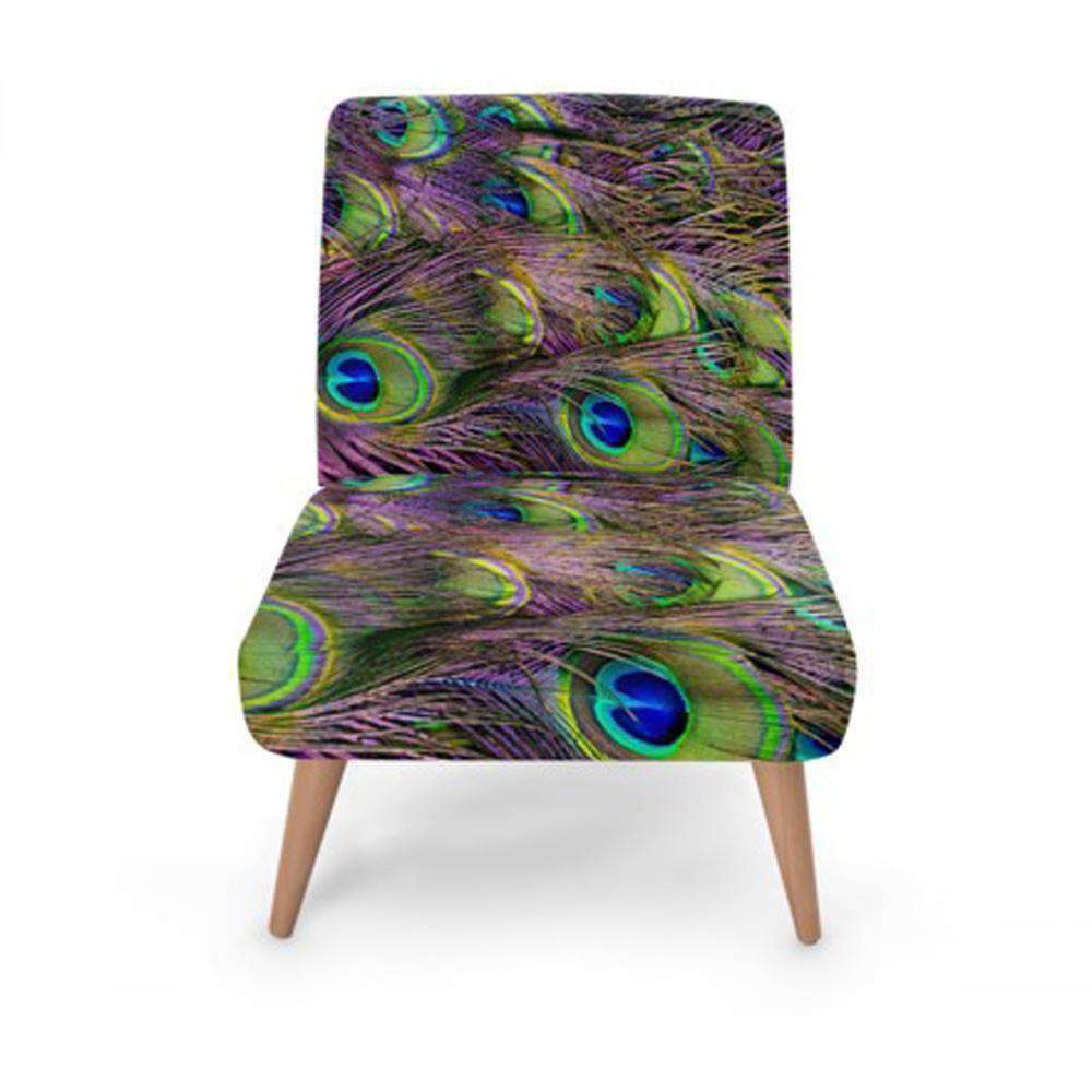 Peacock Feather Print Accent Occasional Chair - Nyrod Network- Nyrod