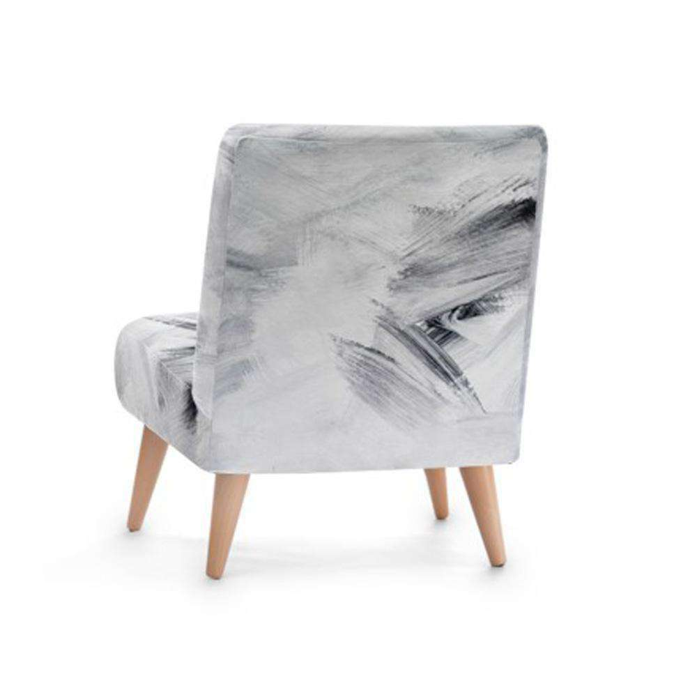 White Abstract Print Accent Occasional Chair - Nyrod Network- Nyrod