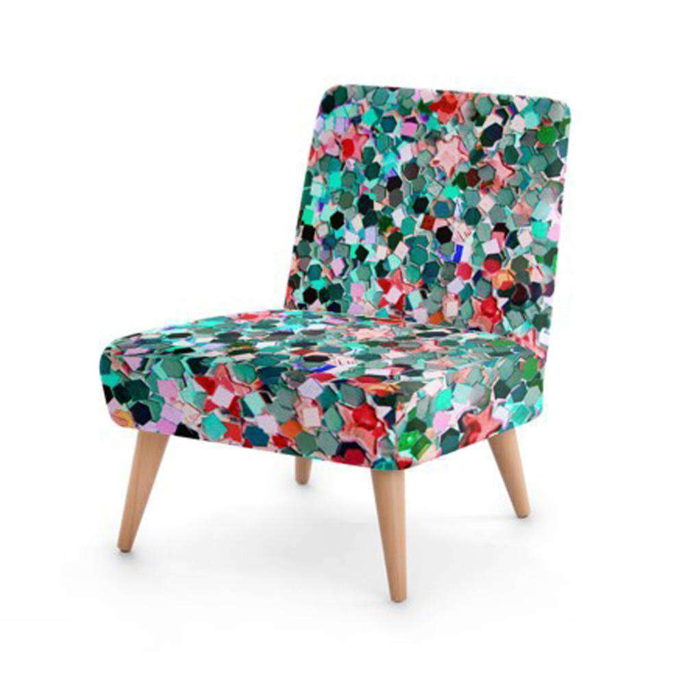 Multi-Colour Jewel Print Accent Occasional Chair - Nyrod Network- Nyrod