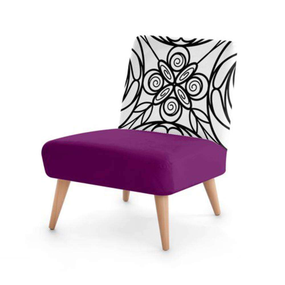 Purple Stained Glass Print Accent Occasional Chair - Nyrod Network- Nyrod