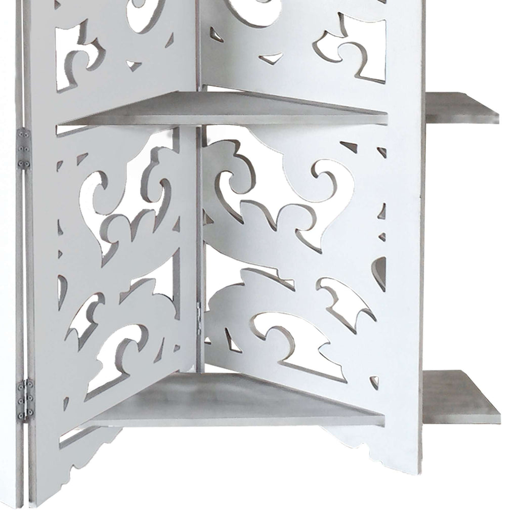 Hand Carved Four Panel Wooden Room Divider with Shelving Unit, White - Benzara Inc- Nyrod