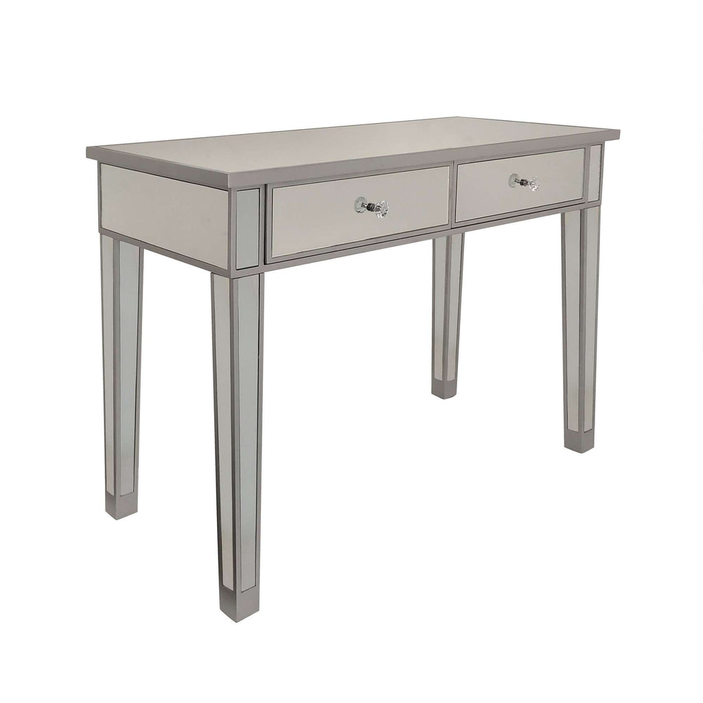 2 Drawer Wooden Console Table with Mirror Inserts, Silver and Gray