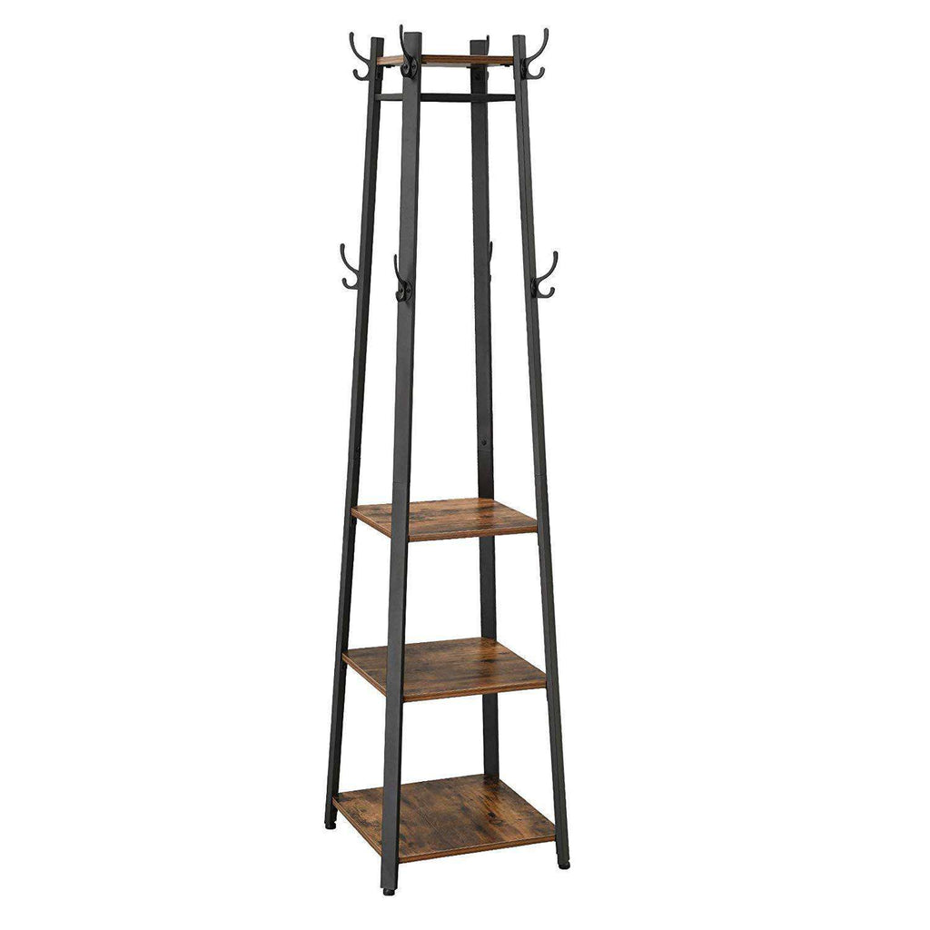 Metal Framed Ladder Style Coat Rack with Three Wooden Shelves, Brown and Black - Benzara Inc- Nyrod