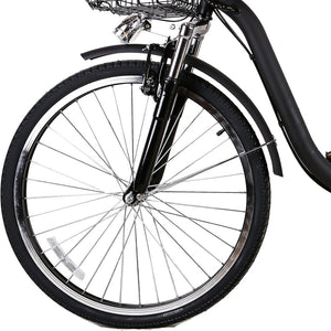 "Nakto Camel City Electric Bicycle Men 26"" Black with Plastic Basket"