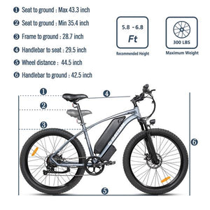 Rattan Compass 500W Motor  48V 13AH Battery Mini Fat Tire Electric Mountain Bike