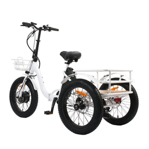 Eunorau New Trike 48V 500W 20'' Step Through Fat Tire Folding Electric Tricycle