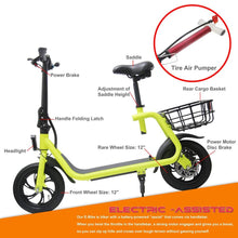 Load image into Gallery viewer, Glare 12 Inch Electric Scooter Folding 350W E Scooter With Seat Eb-C1