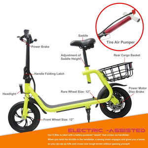 Glare 12 Inch Electric Scooter Folding 350W E Scooter With Seat Eb-C1