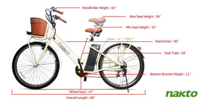 "Nakto Classic City Step Thru Electric Bicycle 250W 26"" White"