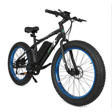 "Load image into Gallery viewer, Ecotric Beach Snow Rear Hub 500W 36V 12AH Battery Smart LCD 26"" Fat Tires Blue Electric Bike"