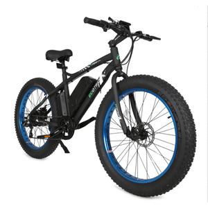 "Ecotric Beach Snow Rear Hub 500W 36V 12AH Battery Smart LCD 26"" Fat Tires Blue Electric Bike"