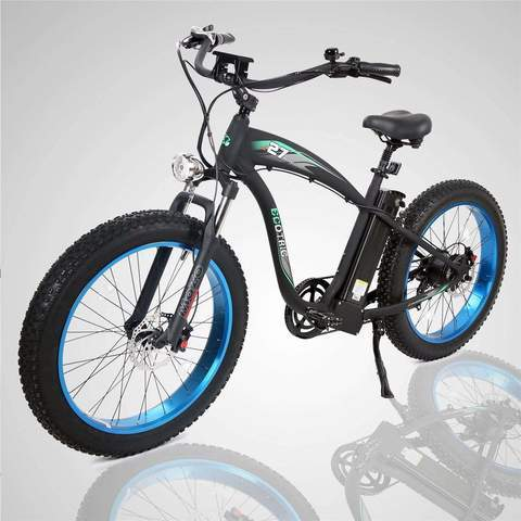 Ecotric Hammer Beach Snow Smart LCD 1000W Rear Hub Motor 48V 13AH Battery Fat Tire Blue Electric Bike