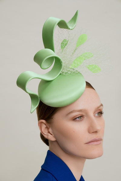 Filipa Cardoso Millinery pastel green silk fascinator