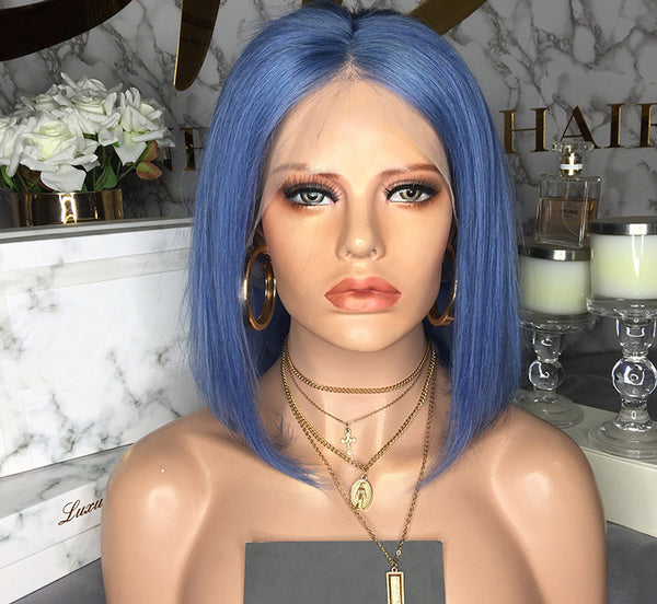 150% Density Human Hair Bob Wigs(Blue)