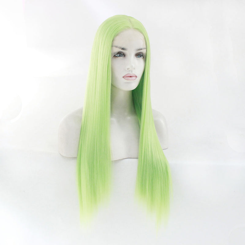 Light Green Lace Front Long Straigh Wigs
