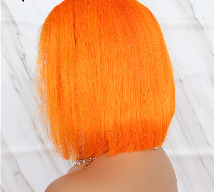130% Density Human Hair Bob Wigs(Orange)