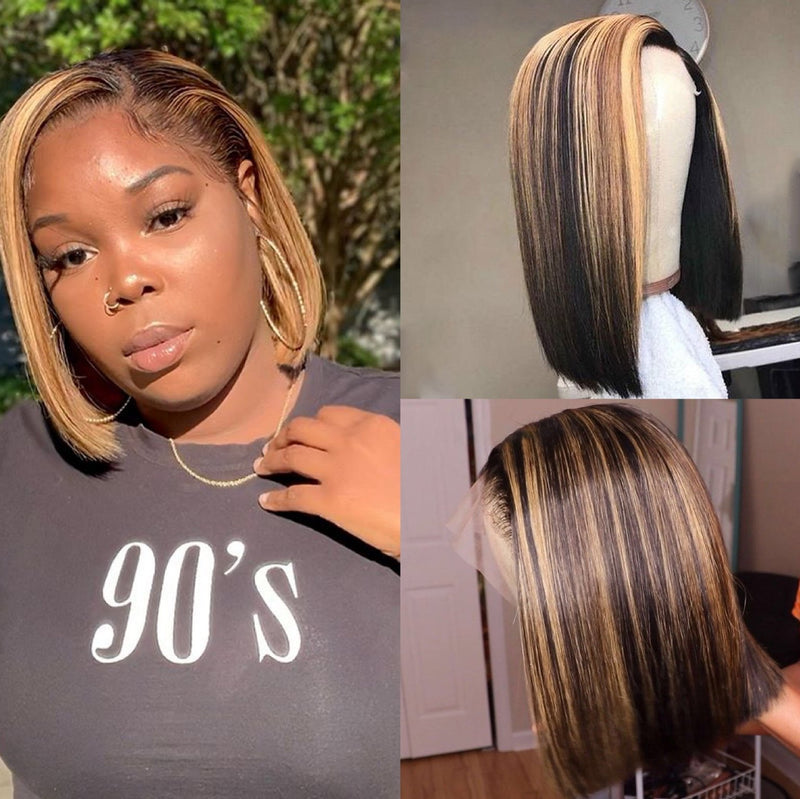 "13*6 8""-14"" Stright Bob Wigs Highlight Lace Front Human Hair Brazilian Non-Remy Deep Part Lace Wigs 100% 150% 200% density"