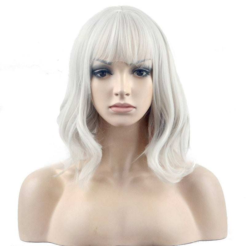 Short Curly Women Girl's Charming Synthetic Wig with Air Bangs Wig Cap