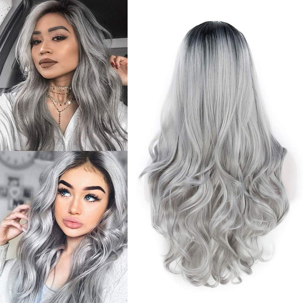 26 Inch Ombre Gray 2 Tones Synthetic Wig
