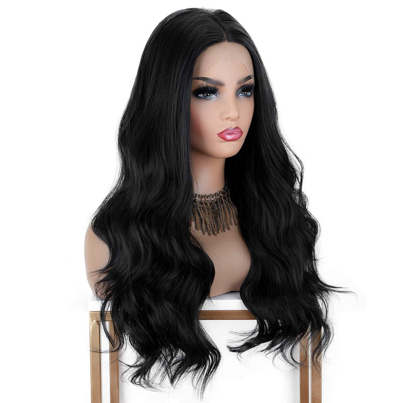 Lace Front Long Natural Wavy Glueless Synthetic Wigs