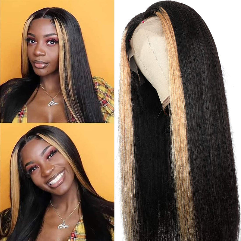 Long Straight Human Hair Wigs with Transparent Front Lace Mesh Cap