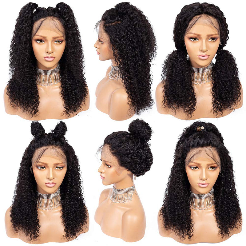 150% Density 13x4 Natural Brazilian Human Hair Kinky Curly Wigs