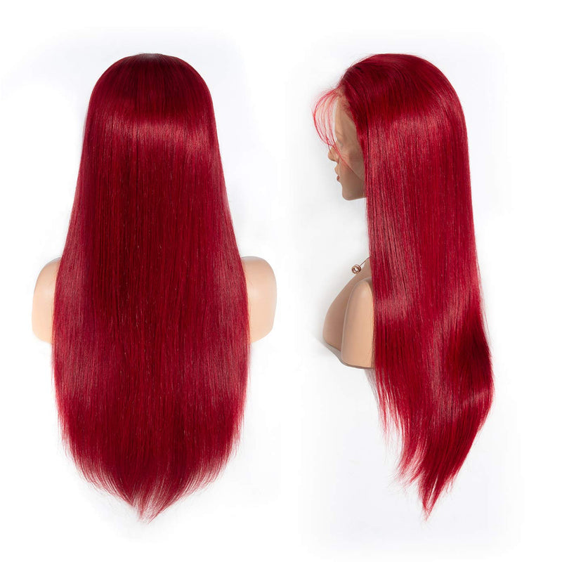 Brazilian Straight Hair Wigs with Baby Hair (Red )