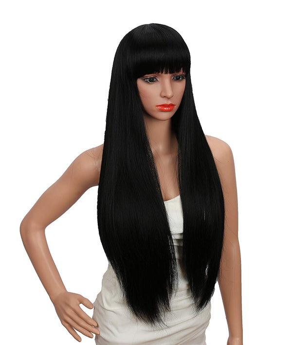 26 inches Women's Silky Long Straight Black Wig With Bangs Hair Wig