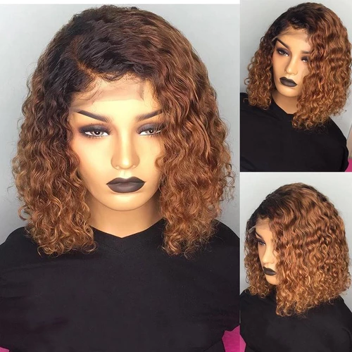 Brazilian Brown Short Human Hair Wig Deep Part Bob Lace Front Wig With Baby Hair  For Women