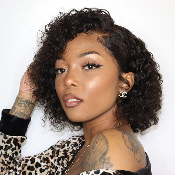 13X6 LACE FRONT WIG 150% DENSITY SHORT PIXIE CUT CURLY HAIR