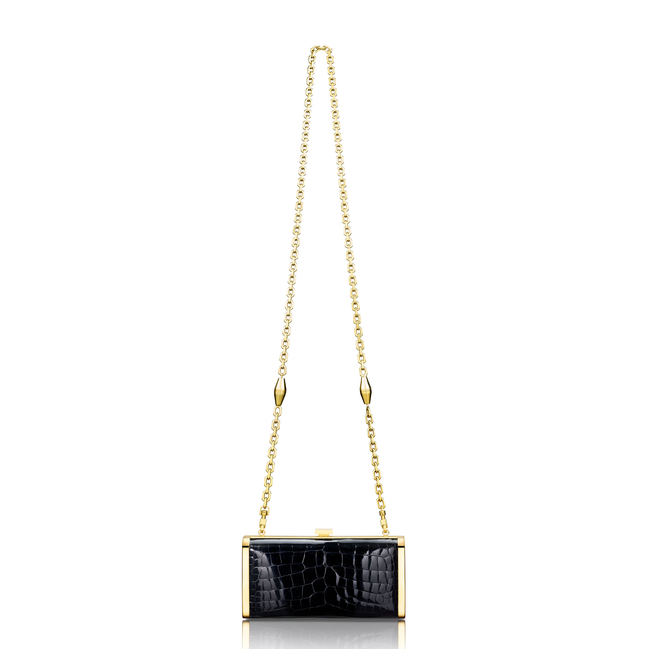Square Clutch - Black Alligator