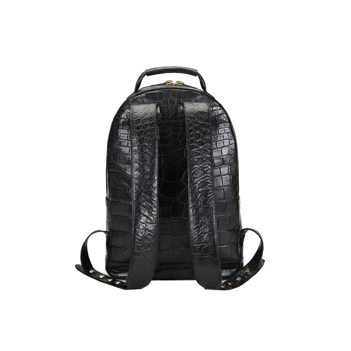 Brighton Flat Front Backpack Large - Black Alligator