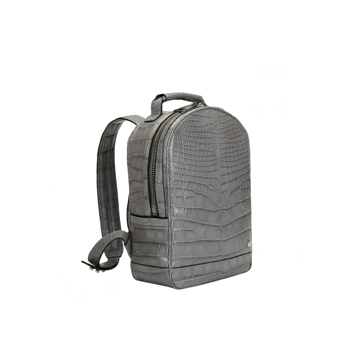Brighton Flat Front Backpack Medium - Grey Alligator
