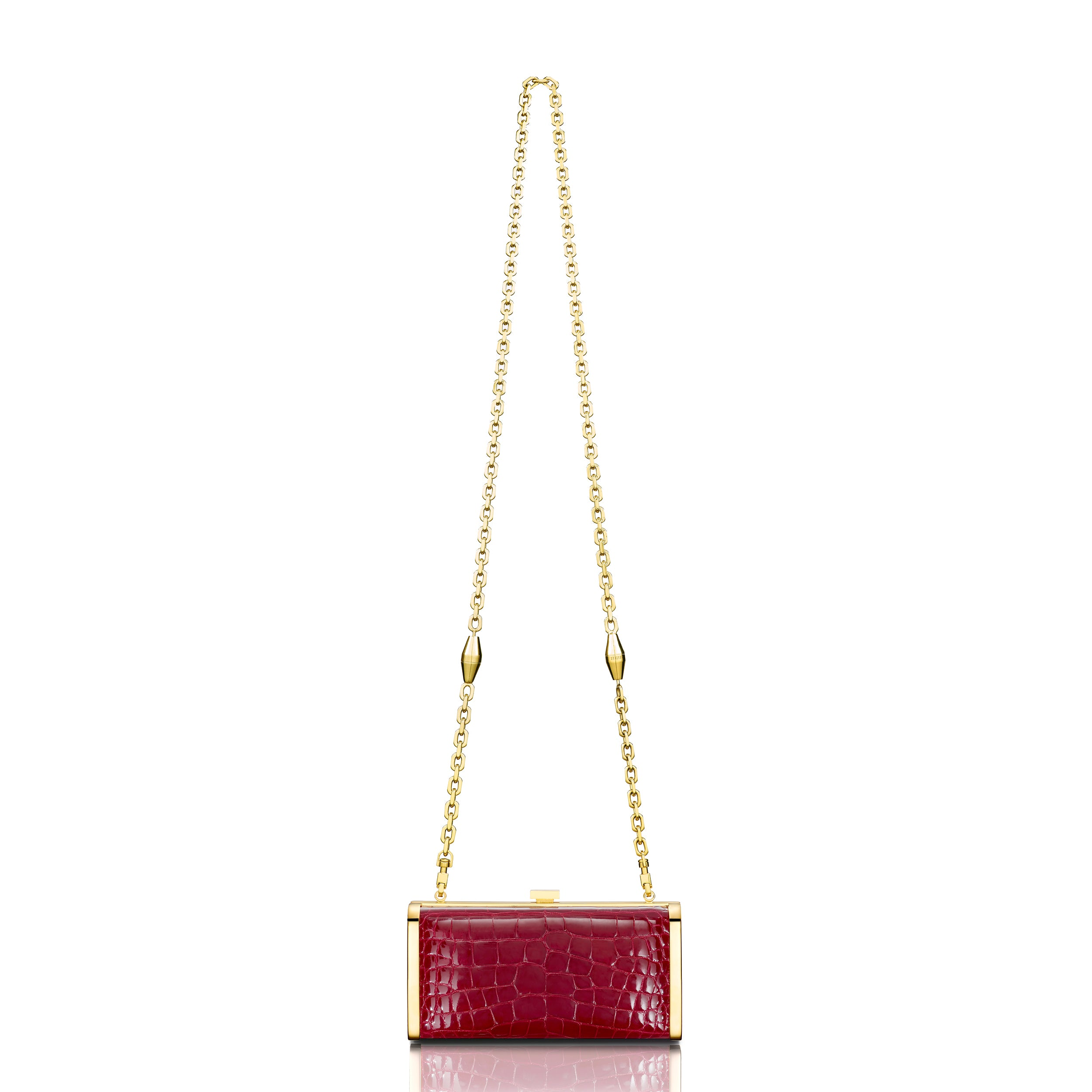 Square Clutch - Burgundy Alligator