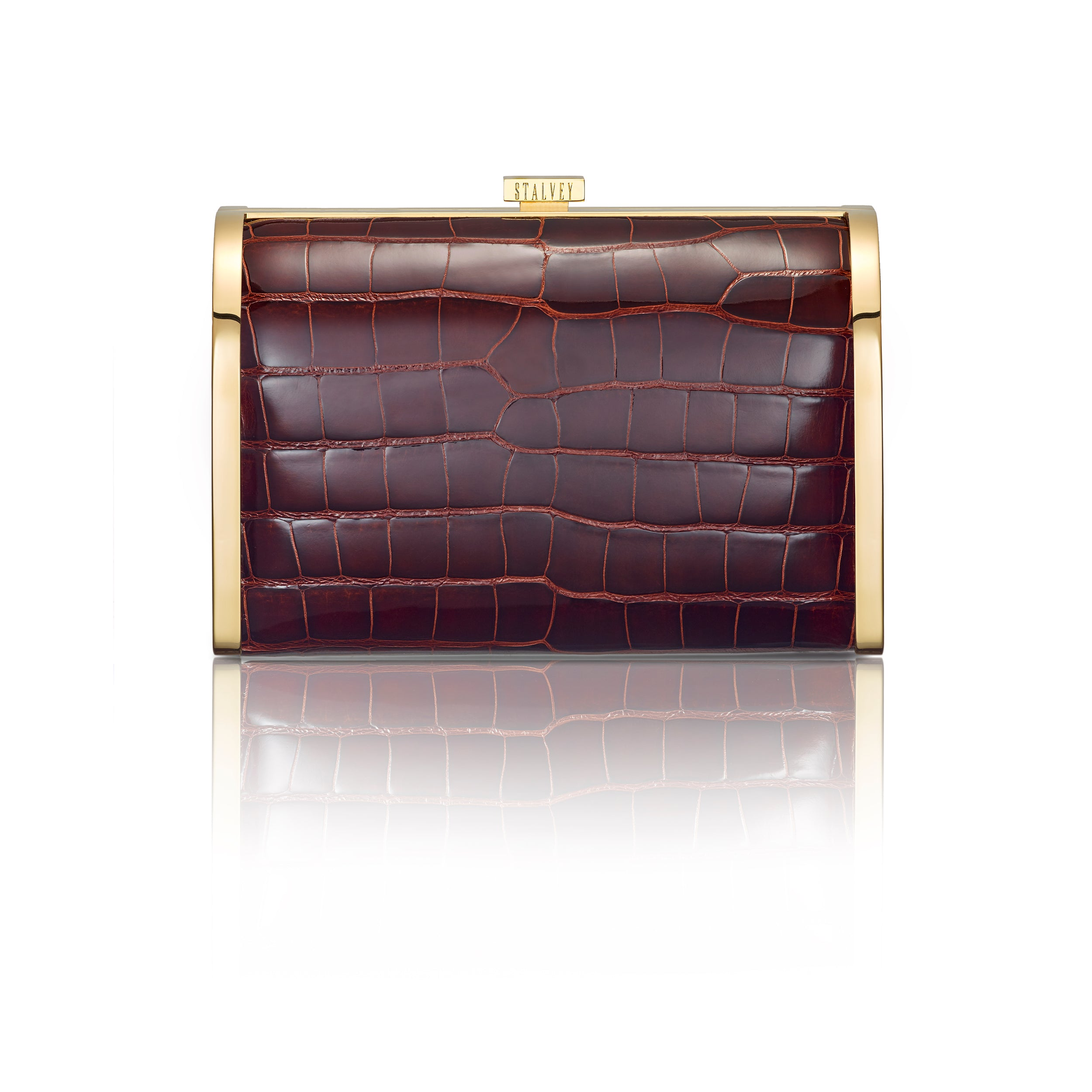 Rounded Clutch - Burgundy Alligator