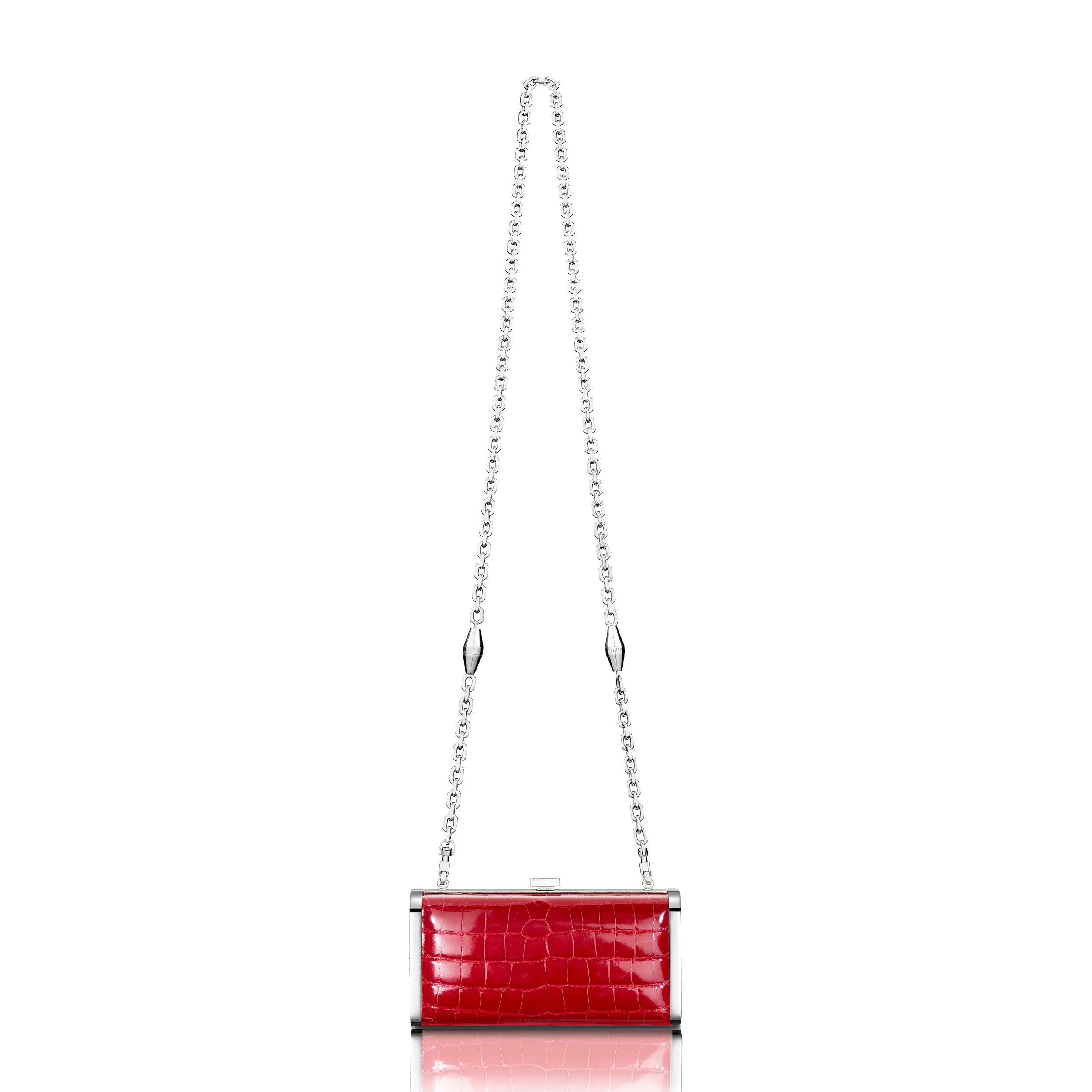 Square Clutch - Cerise Alligator