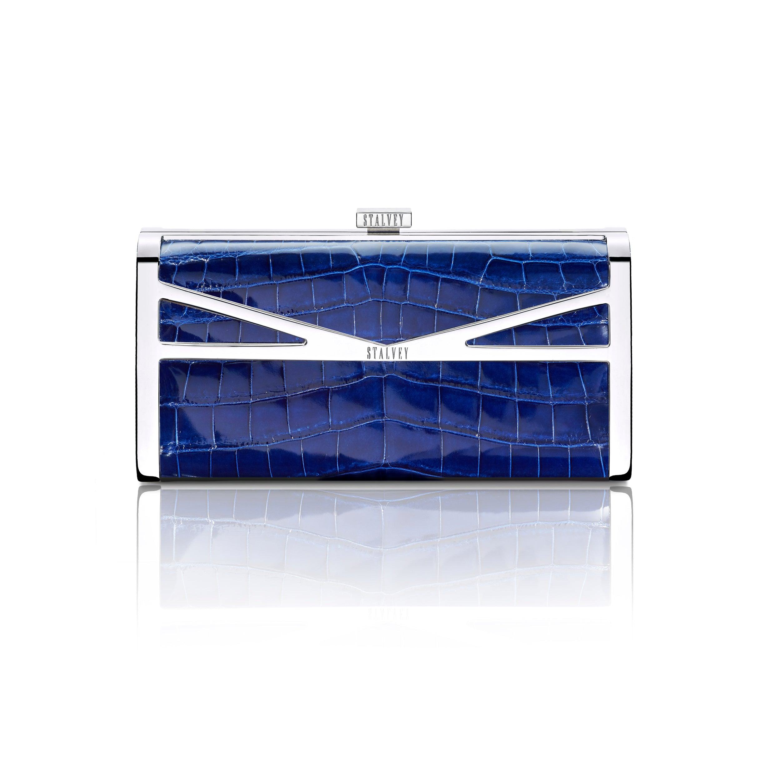 Square Clutch - Cobalt Blue Alligator