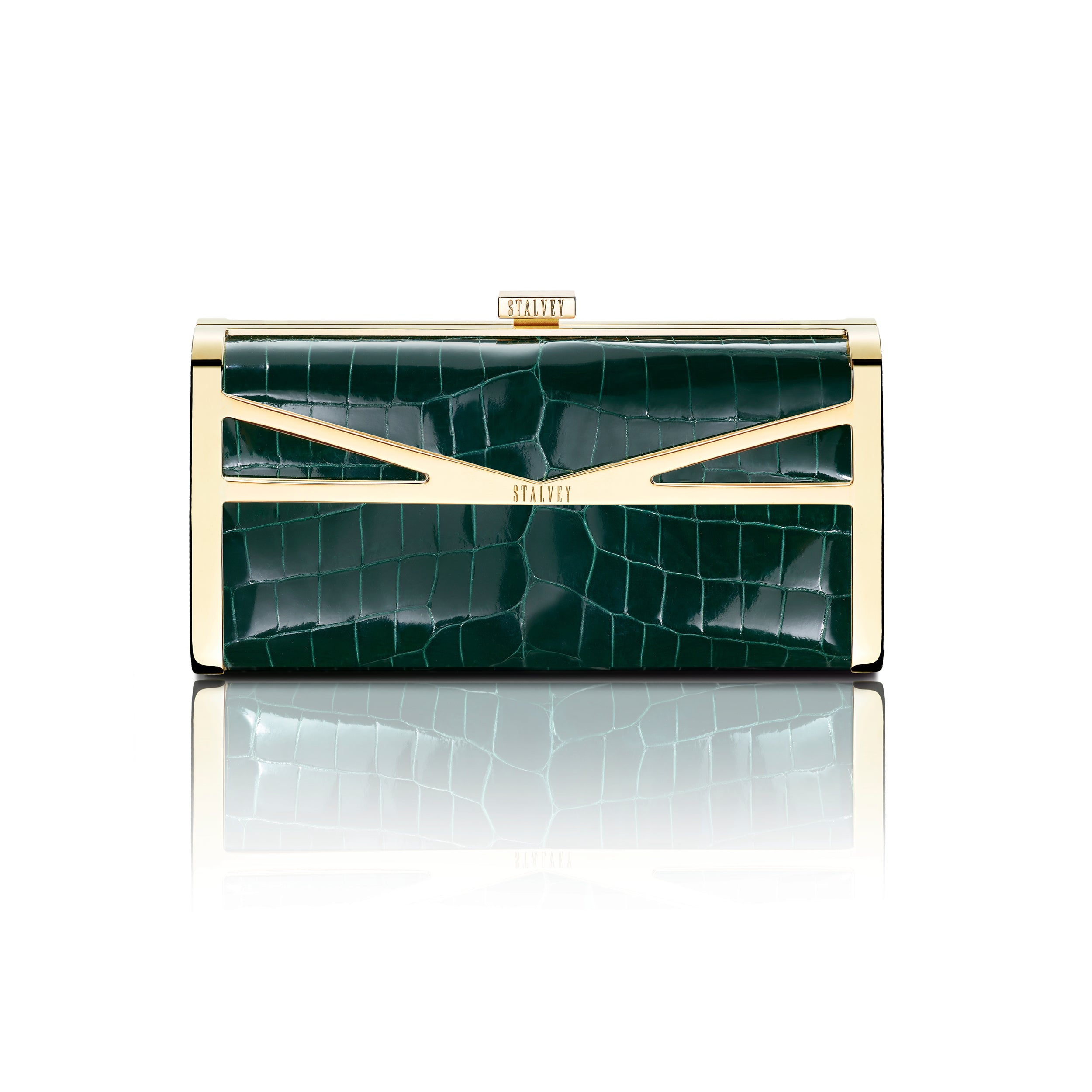 Square Clutch - Emerald Green Alligator