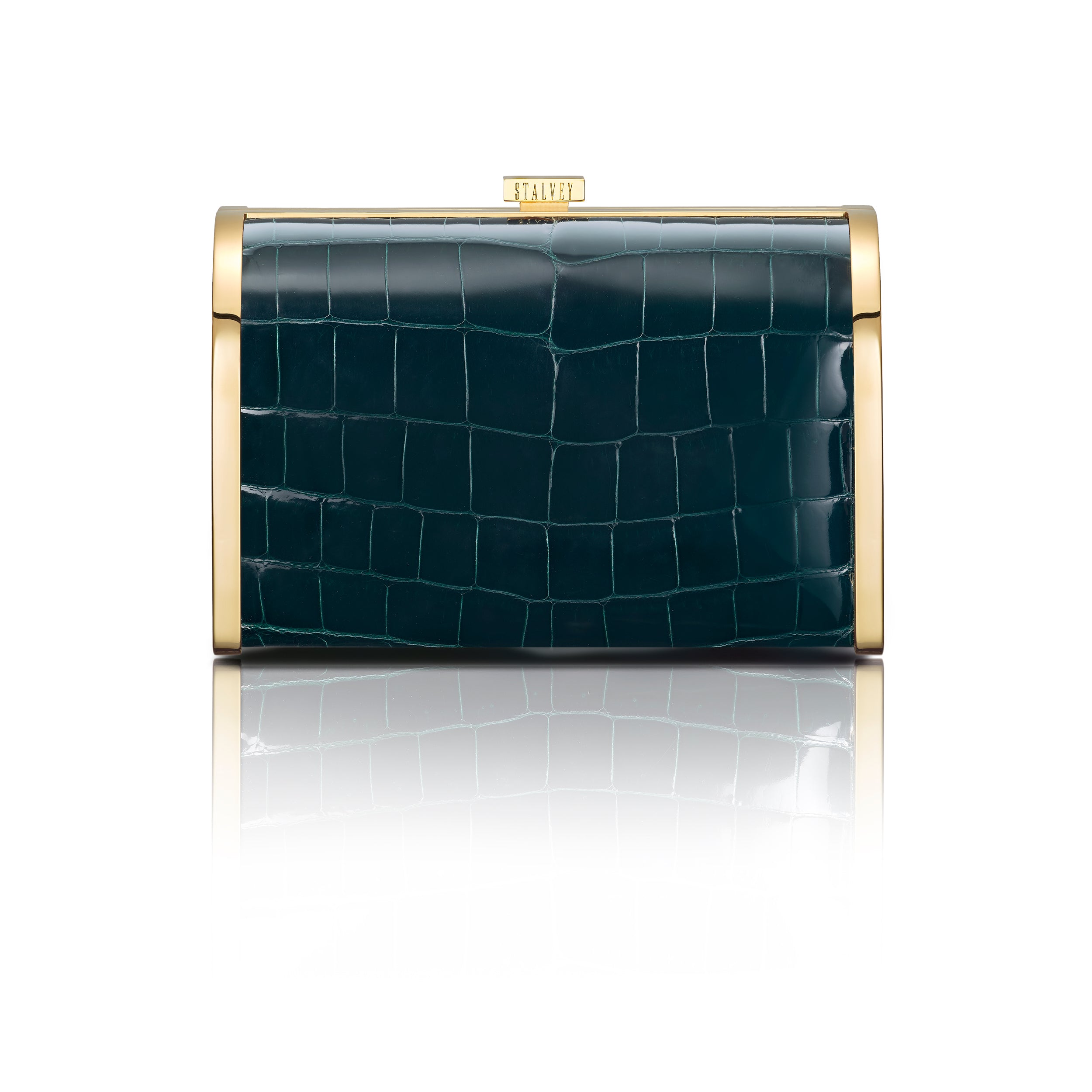 Rounded Clutch - Emerald Green Alligator
