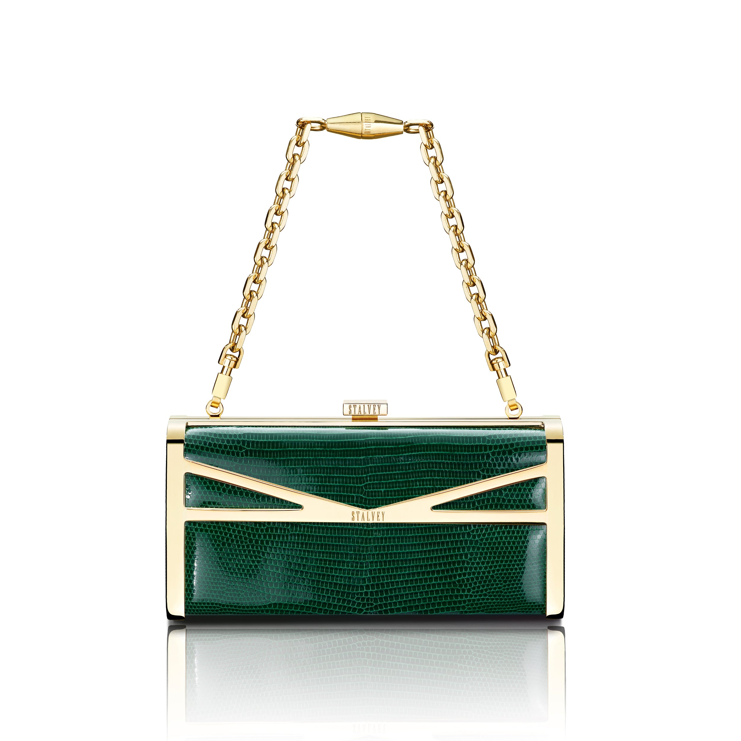 Square Clutch - Emerald Green Lizard