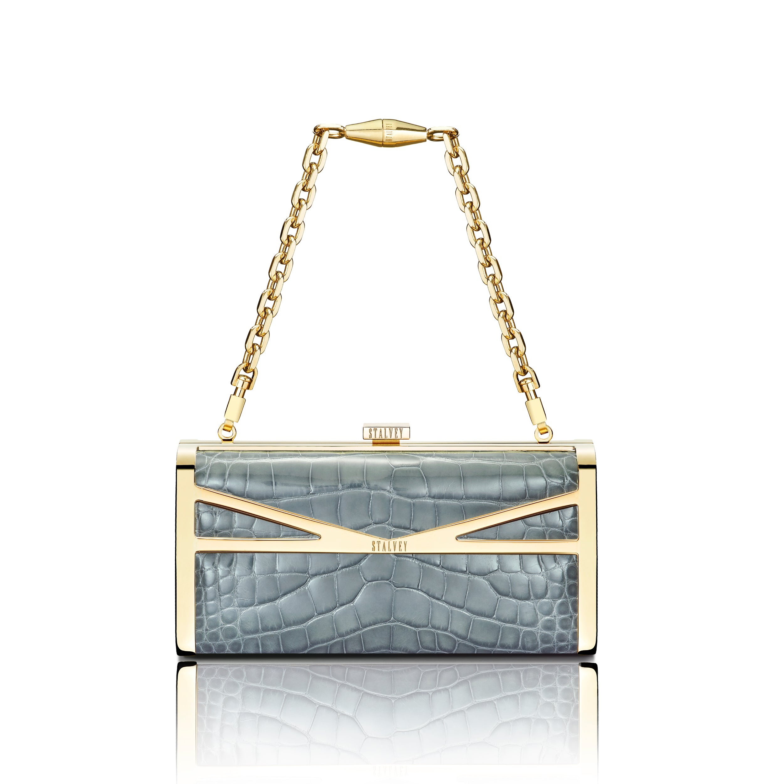Square Clutch - Gunmetal Alligator