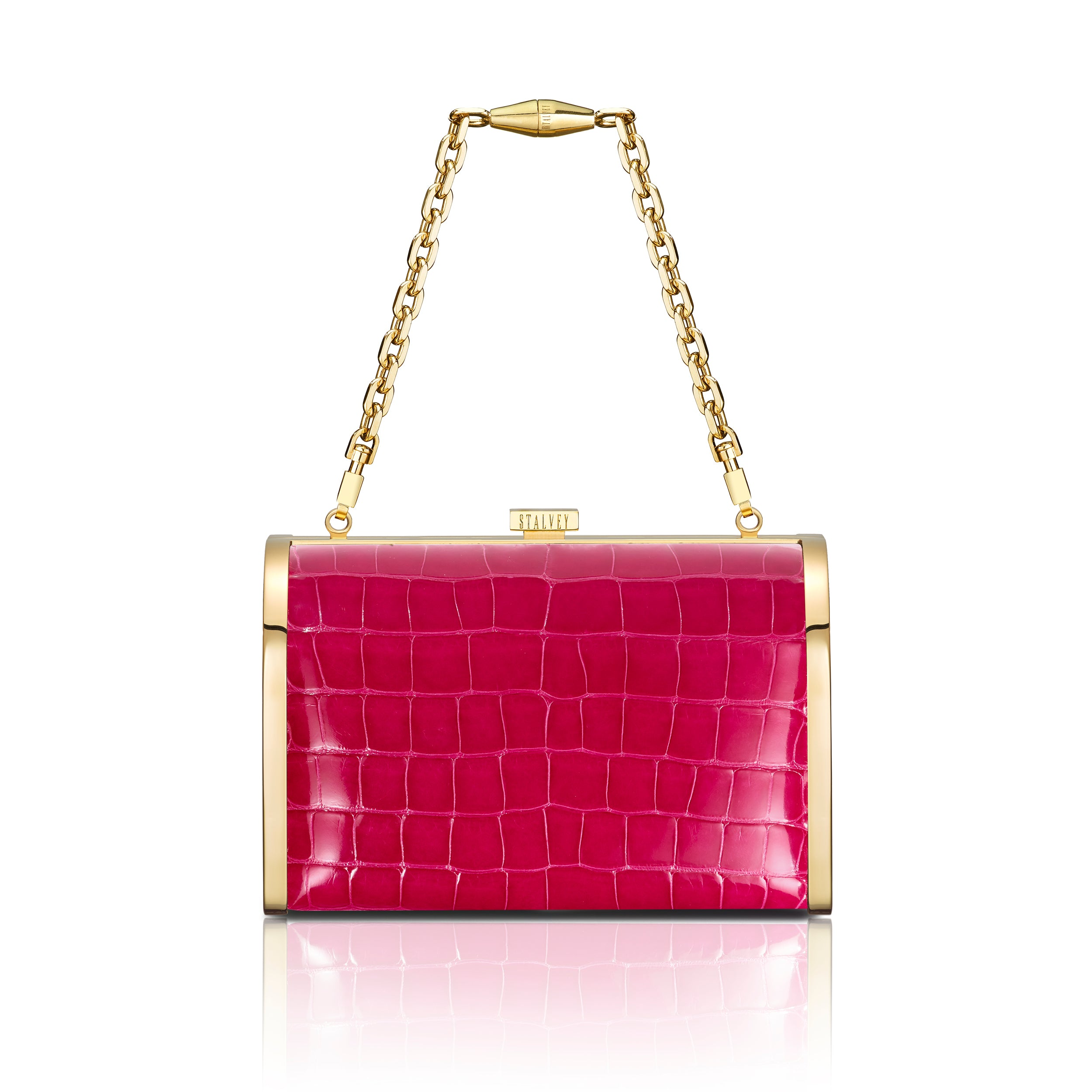 Rounded Clutch - Hot Pink Alligator