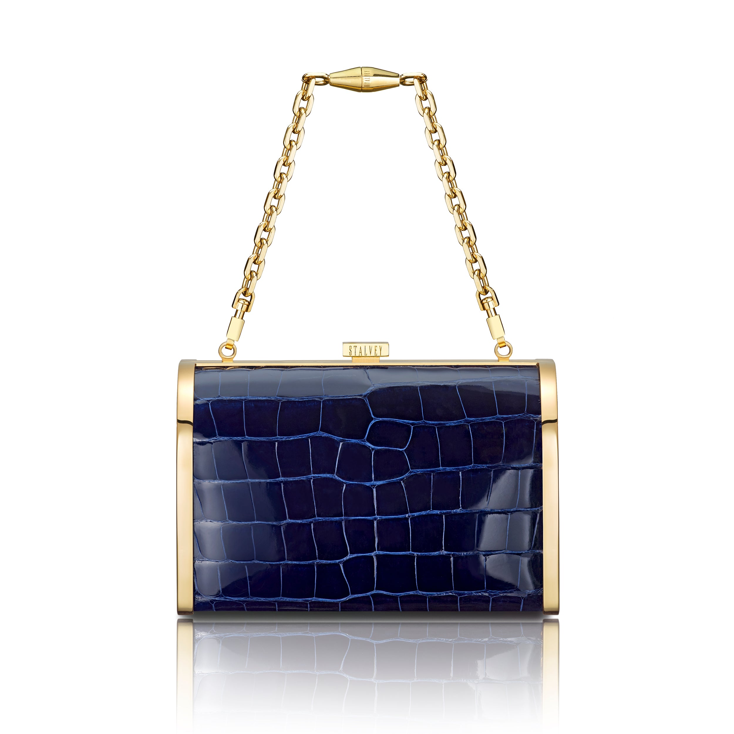 Rounded Clutch - Marine Blue Alligator