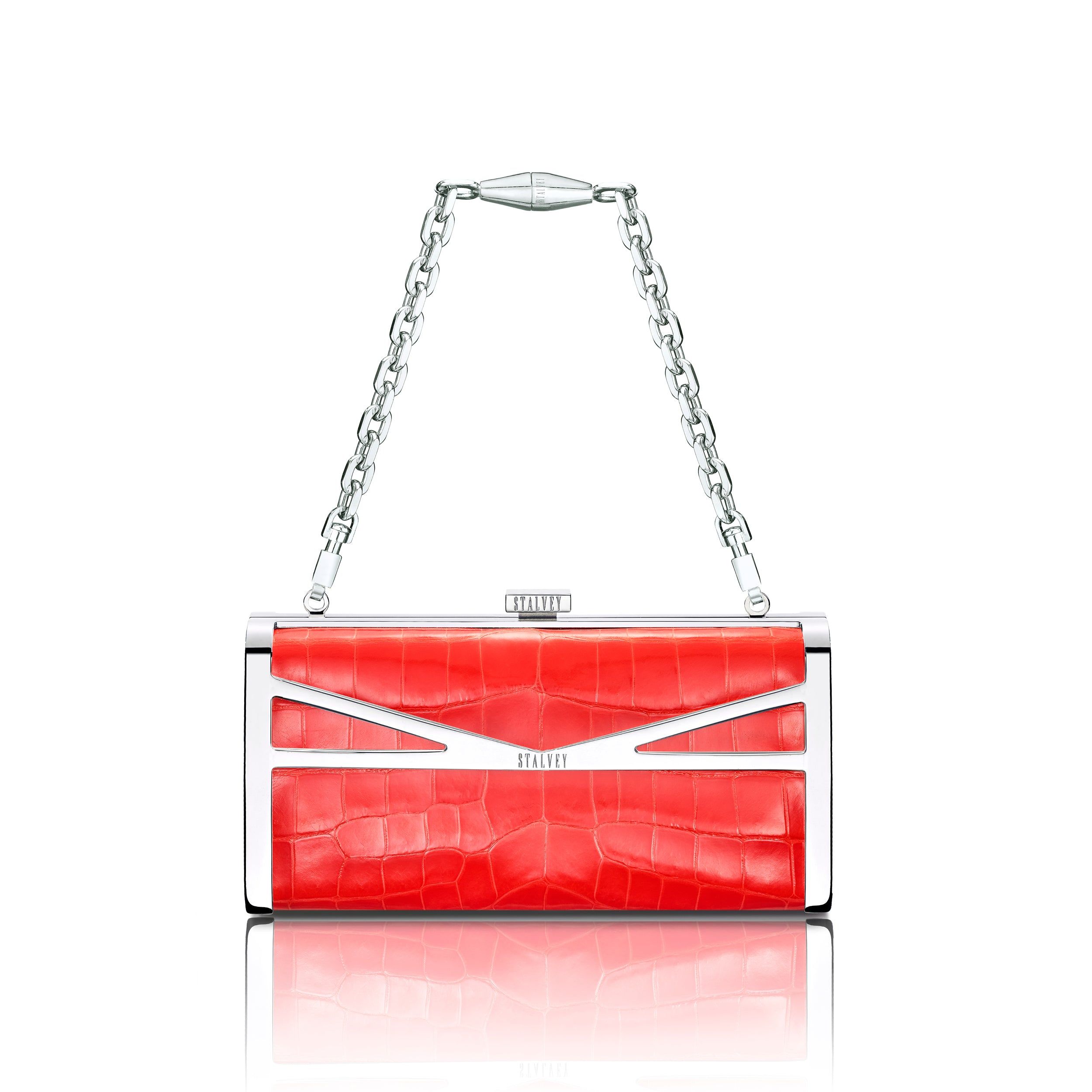 Square Clutch - Neon Orange Alligator