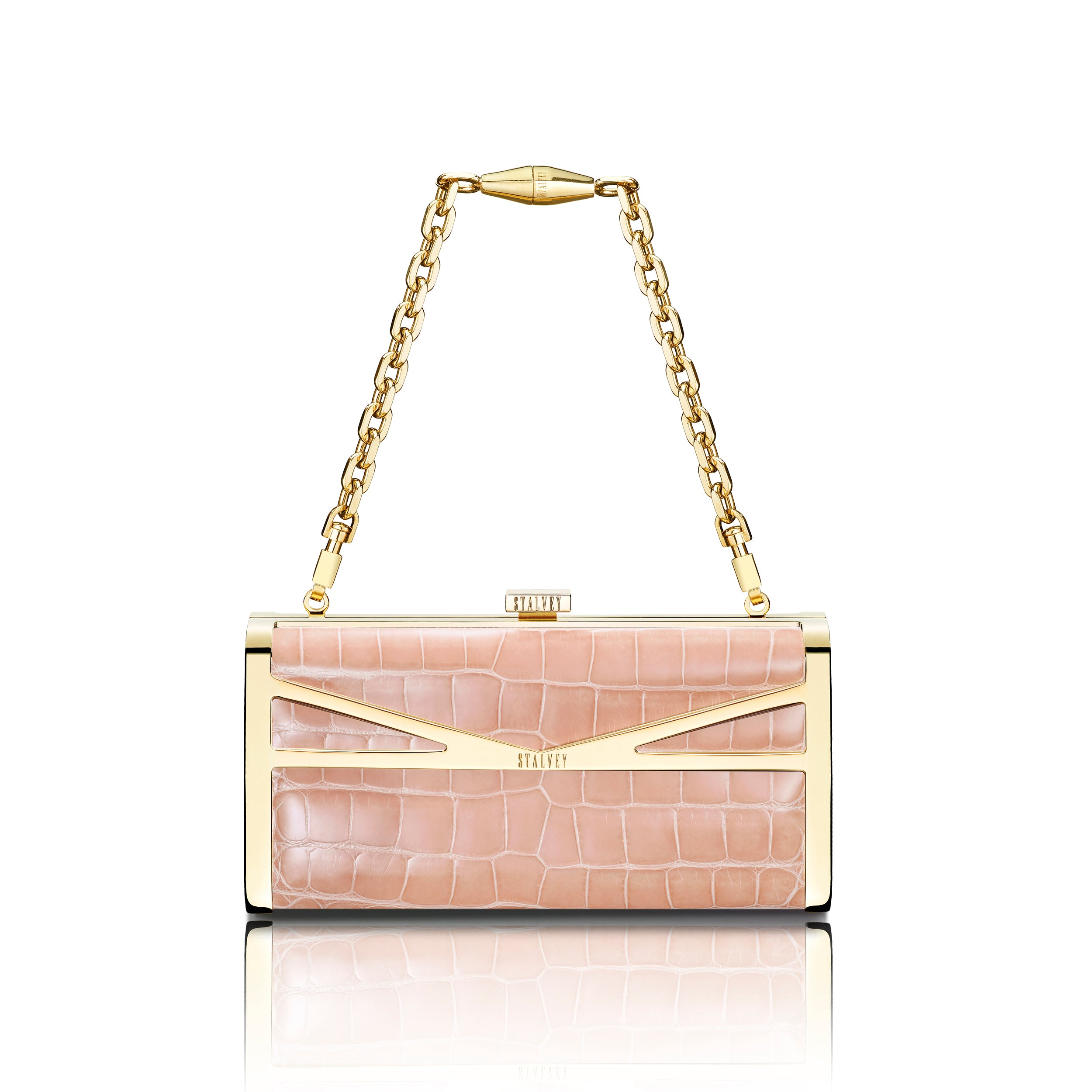 Square Clutch - Powder Pink Alligator