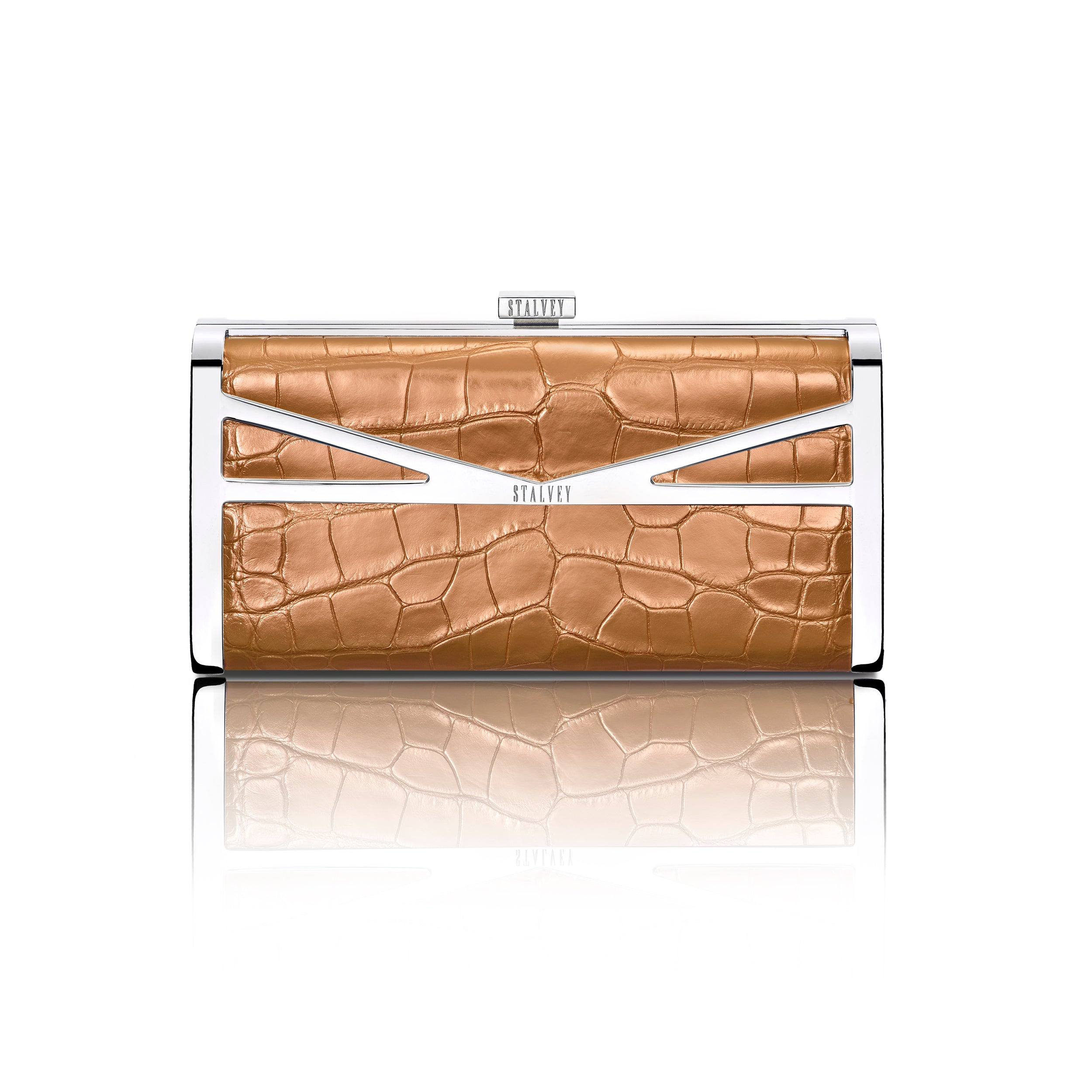 Square Clutch - Rose Gold Alligator